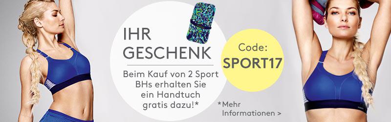 Ihr Geschenk: Beim Kauf von 2 Sport BH's erhalten Sie ein Handtuch gratis dazu!